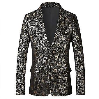 Allthemen Men's Slim Fit Leopard Head Casual Suit Jacket