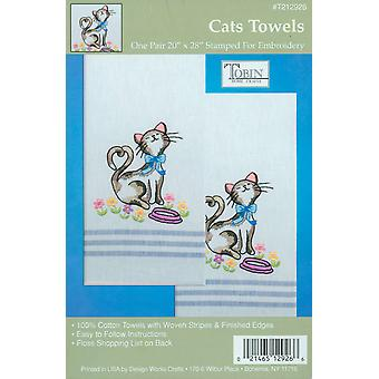 Stamped Kitchen Towels For Embroidery Cats T212926