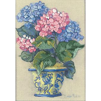 Jiffy hortensia coloré Crewel Mini Kit 5 « X 7 » surpiqué en fil 16051