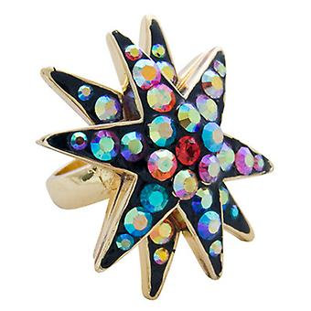 Butler & Wilson Crystal Star Ring Multi Size R