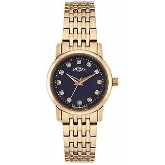 Rotary Womens Rose Gold Blue Dial LB02462/05 Watch