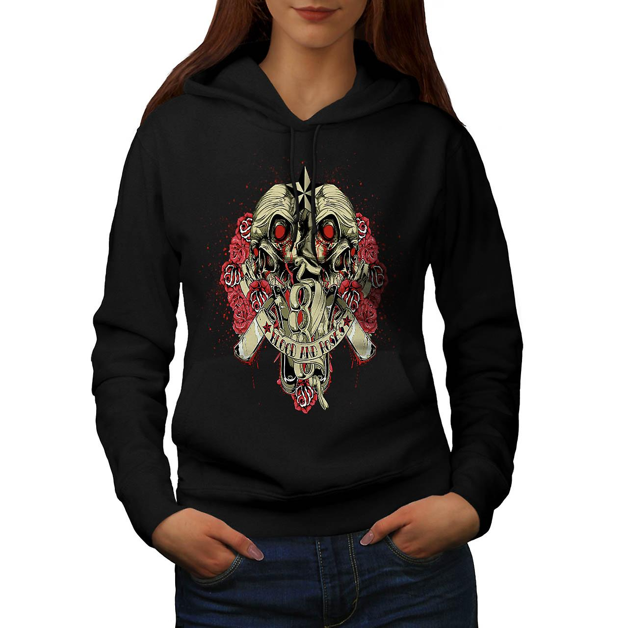 Blood And Roses Zombie Women Black Hoodie | Wellcoda