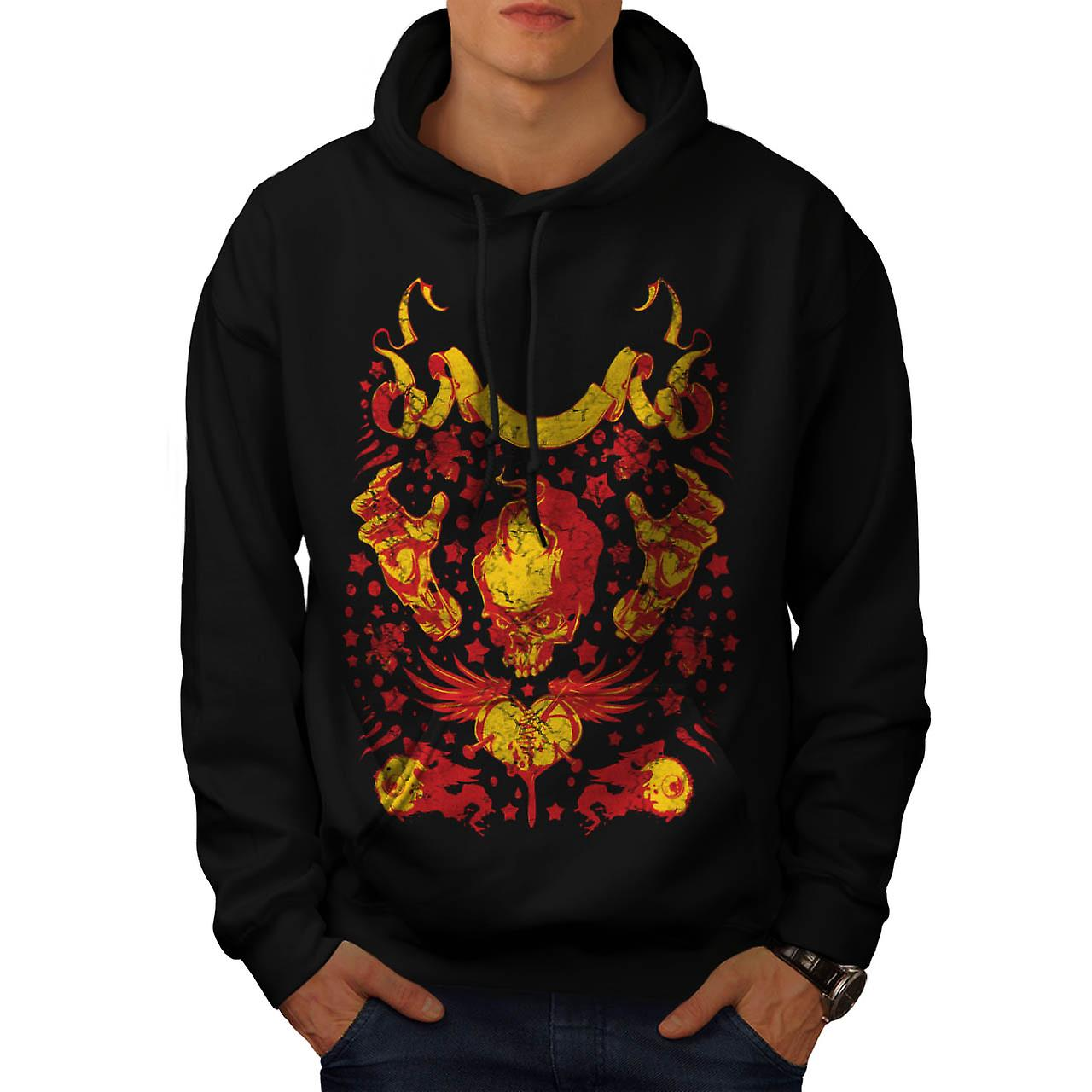 Vintage Undead Art Skull Men Black Hoodie | Wellcoda