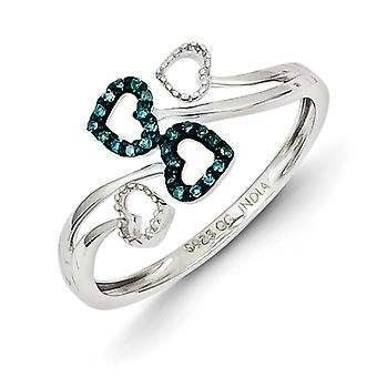 Sterling Silver Blue Diamond Multi Heart Ring - Ring Size: 6 to 8