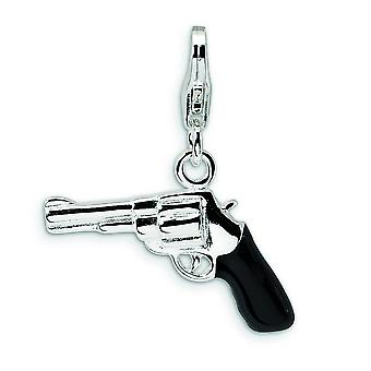Sterling Silver 3-D Enameled Pistol With Lobster Clasp Charm - 2.2 Grams - Measures 24x19mm