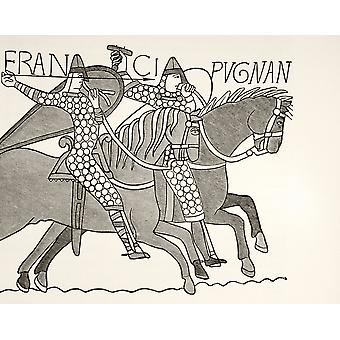 Fragment Of The Bayeux Tapestry Showing Two Mounted Armoured Knights Of William The Conquerors Army In Combat During The Battle Of Hastings From Les Artes Au Moyen Age Published Paris 1873 PosterPrint