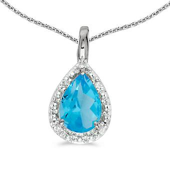10k White Gold Pear Blue Topaz Pendant with 18