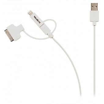 ValueLine sync and charge cable USB 2.0 A male to Micro B male with connected lightning and 30-pin dockningsadapt