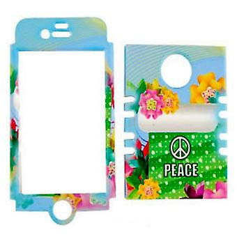 Rocker Series Snap-On Protector Case for Apple iPhone 4 / 4S (Peace Sign and Col