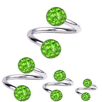 Torsion spirale Piercing titane 1,2 mm, Multi boule de cristal vert | 6 - 12 mm