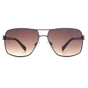 SUUNA Atlanta Rectangle Aviator Sunglasses In Shiny Dark Gunmetal