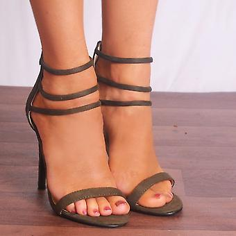 Shoe Closet Green Strappy Heels - Ladies Ed53 Khaki Green Strappy Sandals Peep Toes High Heels