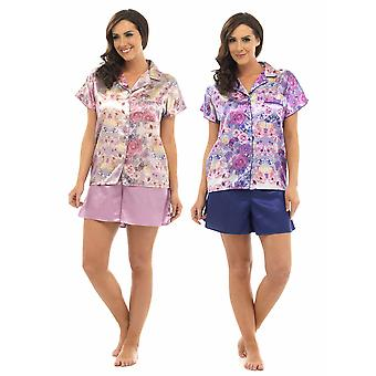 2 Pack Ladies Wolf & Harte Classic Satin Floral Print Short Pyjama Lounge Wear