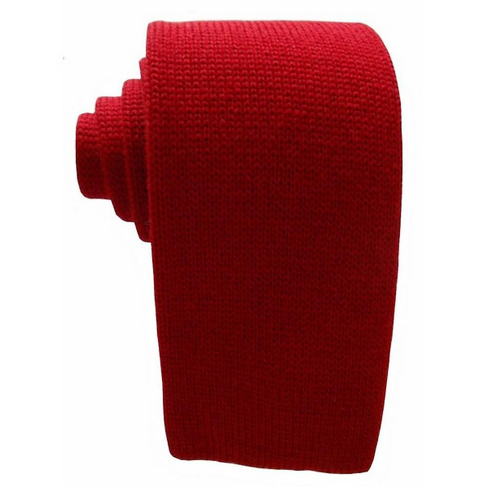 KJ Beckett Plain Wool Tie - Red
