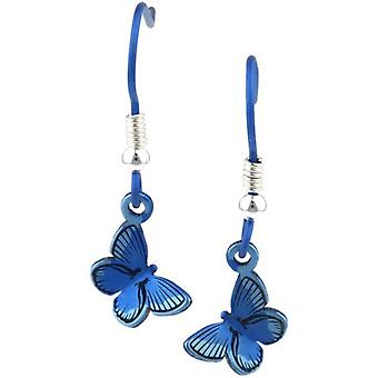 Ti2 Titanium Woodland Small Butterfly Drop Earrings - Blue