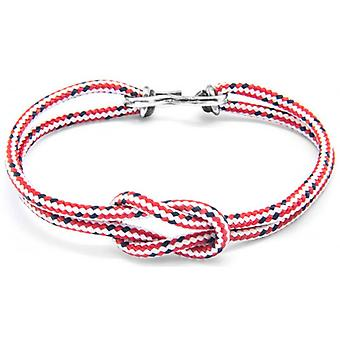 Anchor and Crew Foyle Silver and Rope Bracelet - Red Dash