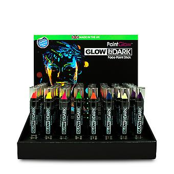 PaintGlow Glow in the Dark Face Paint Stick, 8 Various Colours - Made in UK 3g