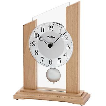 AMS table clock pendulum clock quartz clock with pendulum mineral glass solid wood beech