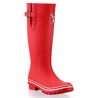 Evercreatures Ladies Rubber Wellies Solid Red With White Edging - Various Sizes