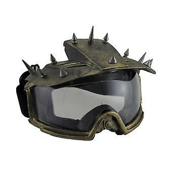 Spiked Metallic Steampunk Padded Motorcycle Goggles Adult Costume Mask