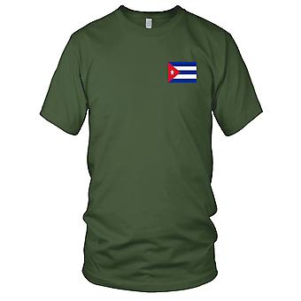 Cuba Cuban Country National Flag - Embroidered Logo - 100% Cotton T-Shirt Mens T Shirt