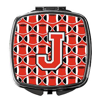 Letter J Football Scarlet and Grey Compact Mirror
