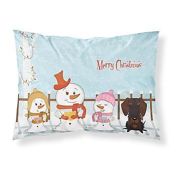 Merry Christmas Carolers Draht kurzhaarige Dackel Schokolade Stoff Standard Pillowc