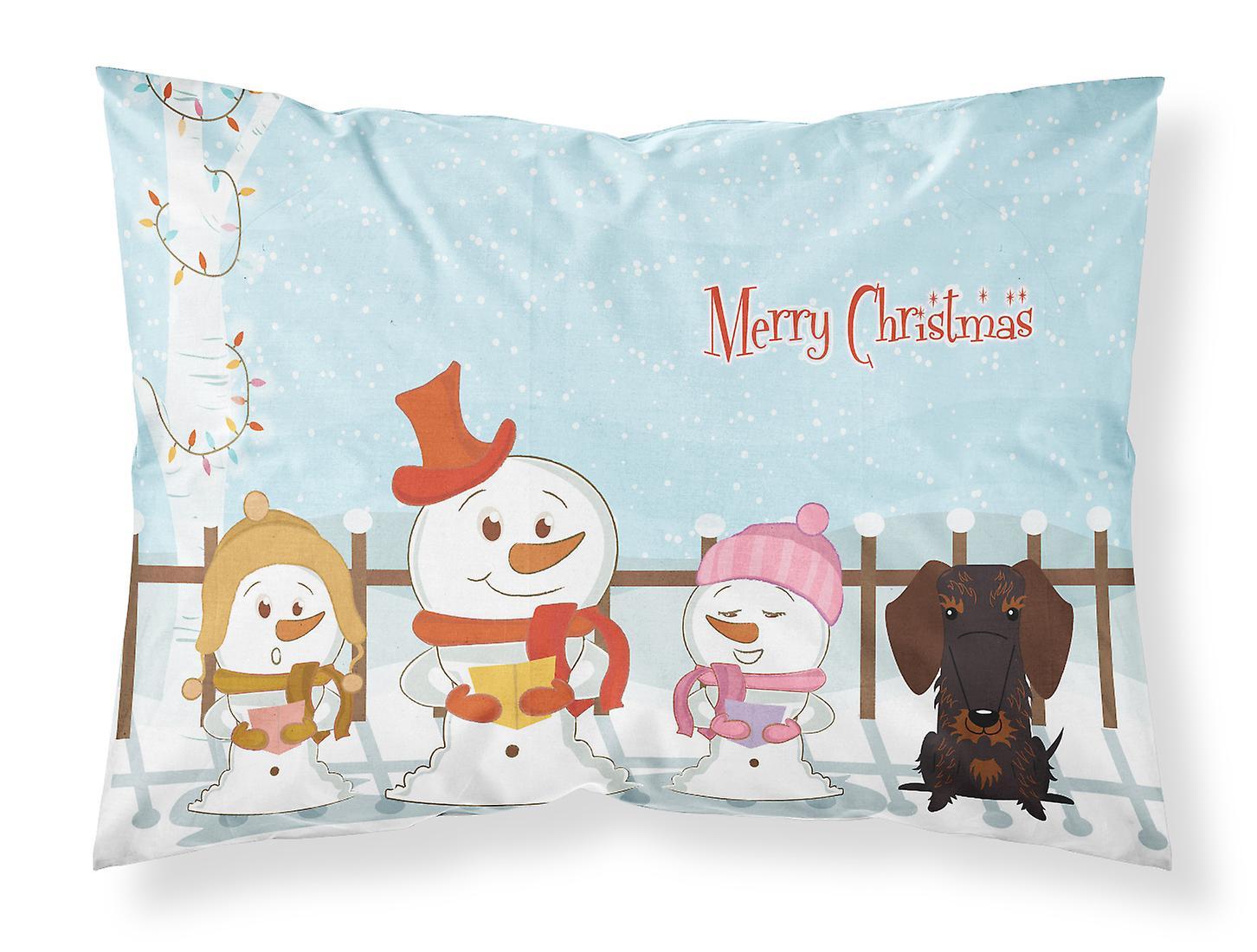 Tissu Teckel Poil Chocolat Fil Standard Pillowc Joyeux Chanteurs Noël IDH2E9