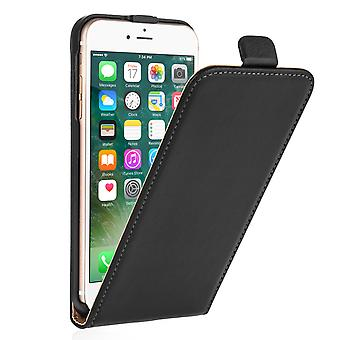 Caseflex Iphone 7 mais Real couro Flip Case - preto