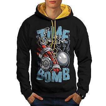 Time Bomb Explode Fashion Men Black (Gold Hood)Contrast Hoodie | Wellcoda