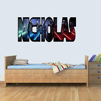 Customisable Star Wars Jedi Childrens Name Wall Art Stickers Decal Vinyl for Boys/Girls Bedroom