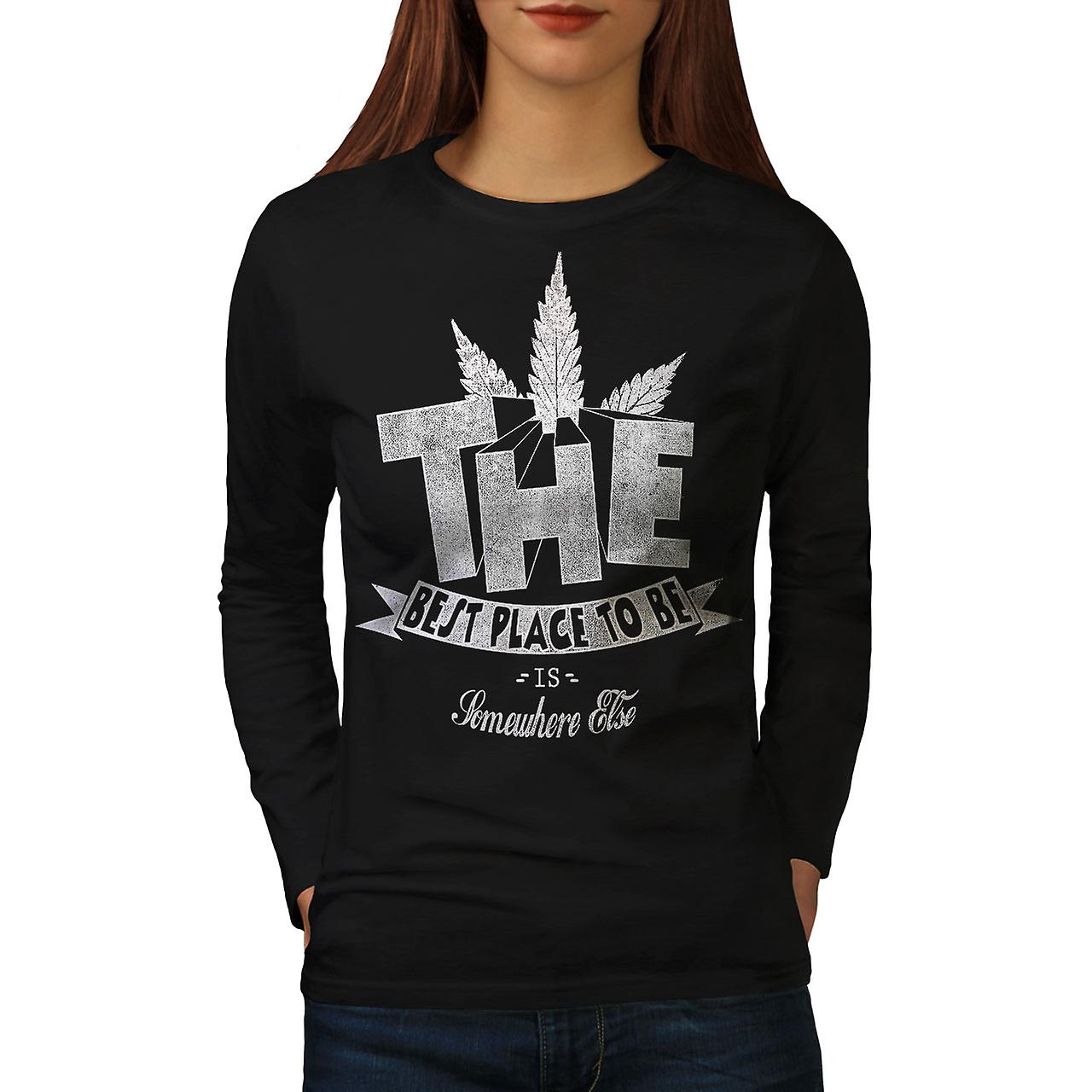 Best Place Weed Pot Rasta Women Black Long Sleeve T-shirt | Wellcoda