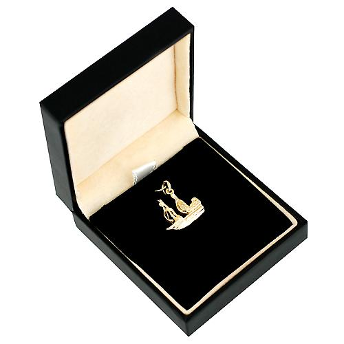 9ct yellow gold 15x19mm man of war friggate Charm or Pendant