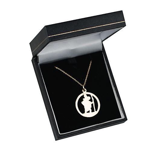 9ct Gold 25mm round pierced St Christopher Pendant with a cable Chain 16 inches Only Suitable for Children