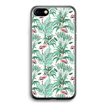 iPhone 7 Transparent Case (Soft) - Flamingo leaves