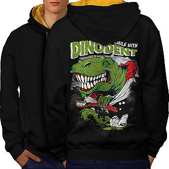 Dinosaur Smile Men Black (Gold Hood)Contrast Hoodie Back | Wellcoda