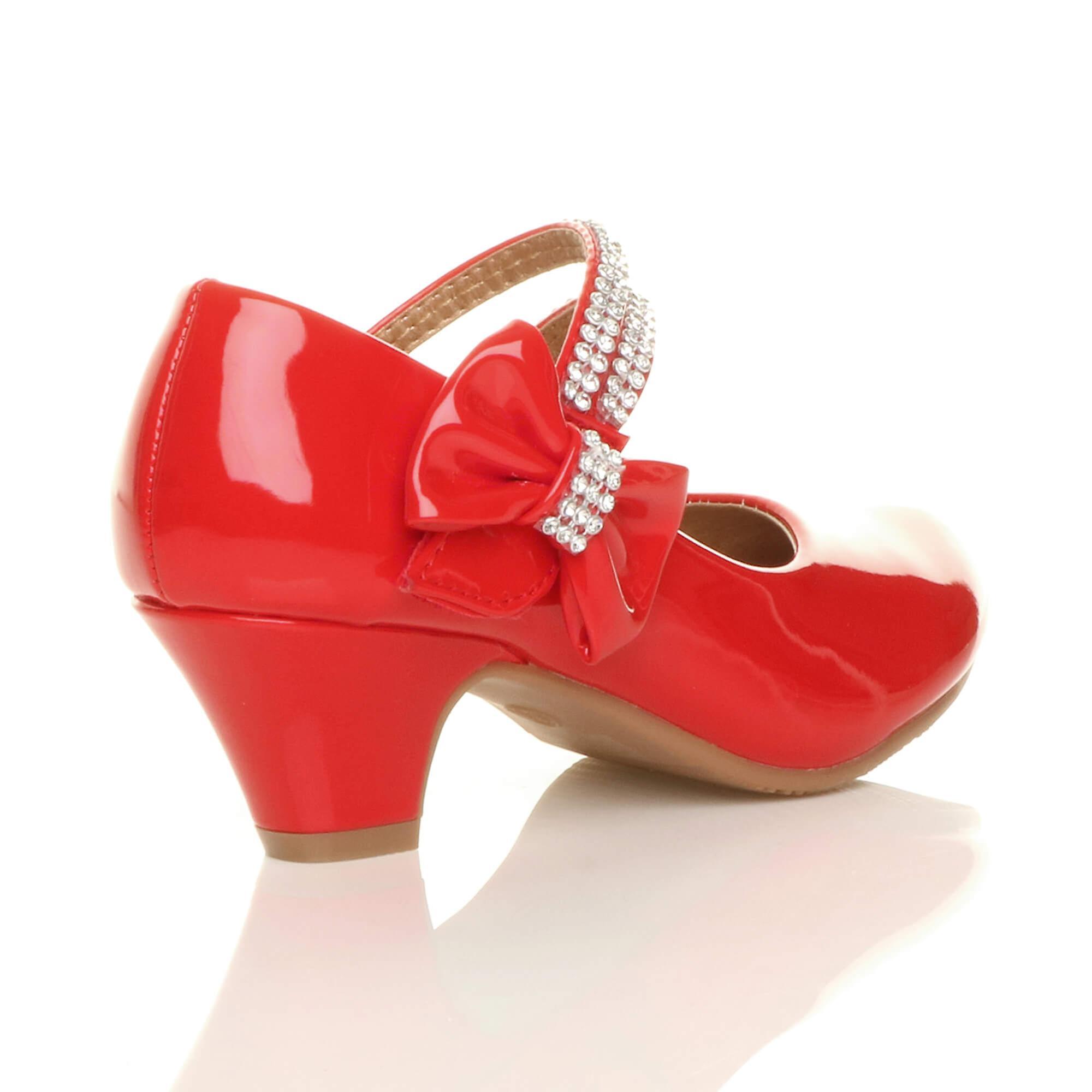 397c6af9c0ba Ajvani girls low heel party wedding mary jane style hook   loop sandals  school shoes