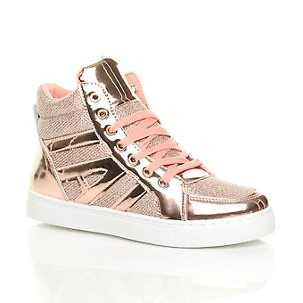 Ajvani womens flat lace up metallic glitter hi-top trainers ankle boots