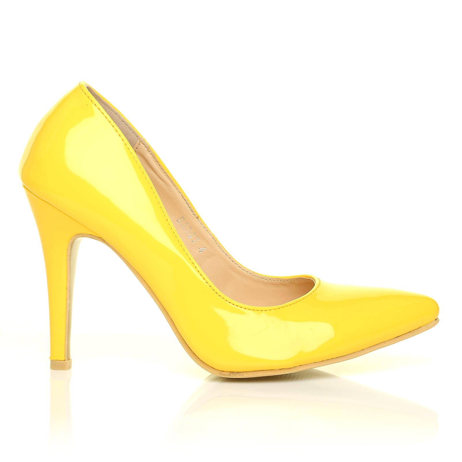 DARCY Yellow High Patent PU Leather Stilleto High Yellow Heel Pointed Court Shoes f57fe9