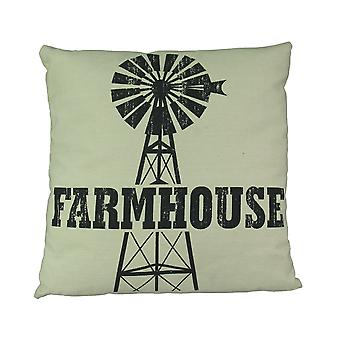 Black and White Urban Farmhouse Windmill Throw Pillow