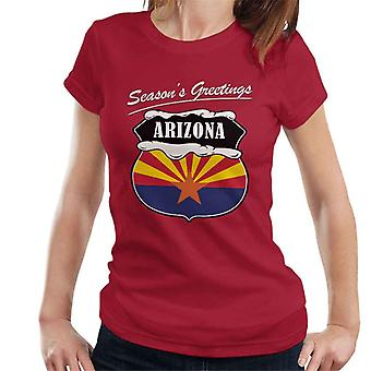 Seasons Greetings Arizona State Flag Christmas Women's T-Shirt
