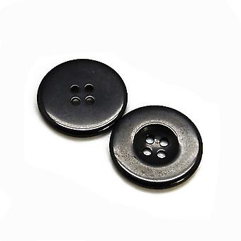 Packet 12 x Black Resin 28mm Round 4-Holed Sew On Buttons HA10285