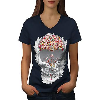 Face Head Skull Women NavyV-Neck T-shirt | Wellcoda