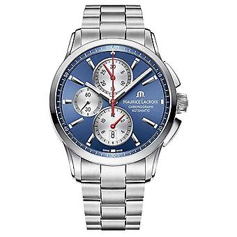 Maurice Lacroix Mens Pontos Chronograph Stainless Steel Blue Dial PT6388-SS002-430-1 Watch