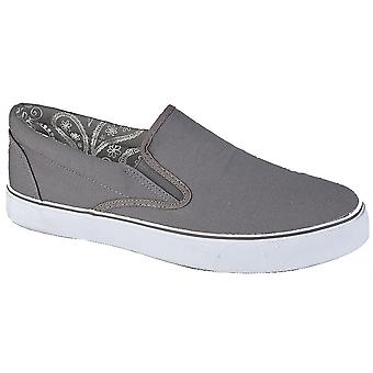 Mens Boxed Slip On Canvas Smart Casual Padded Collar Deck Trainers Shoes