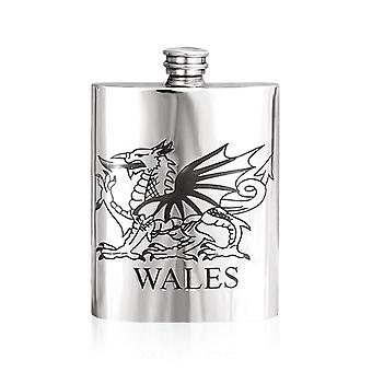 Welsh Dragon Pewter Hip Flask - 6oz