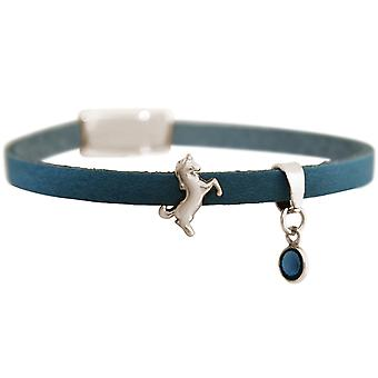 GEMSHINE blue leather bracelet with Einhorn and blue Sapphire. Girls gift gold plated rose or silver. Noble case. Made in Munich, Germany.