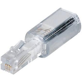 Cable detangler Adapter [1x RJ10 4p4c plug - 1x RJ10 4p4c socket] 0 m White (transparent) Hama