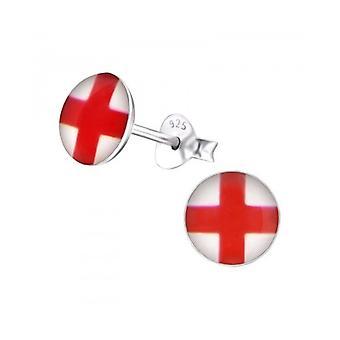 Union Jack zużycie St George Cross Anglii srebro stadniny kolczyki