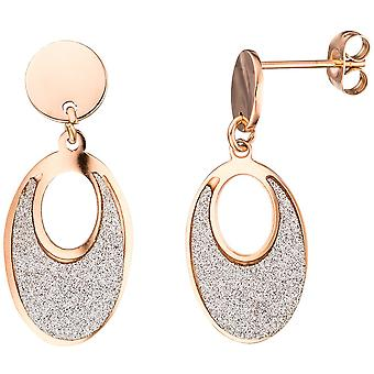Stainless steel earrings oval pink gold color coated bicolor earrings